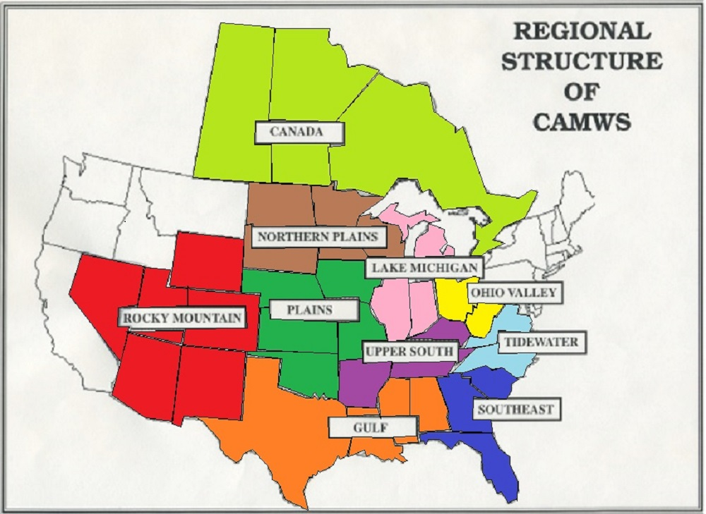 Regional Structure CAMWS - Map of canada provinces and us states